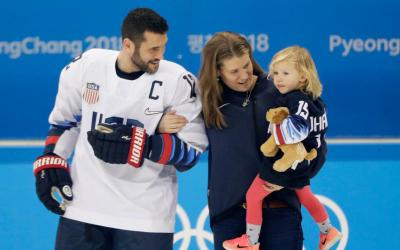 Brian and Harvest Gionta are seen with their daughter Leah Feb. 10 at the Olympic hockey training facility in Gangneung, South Korea. Brian Gionta is a Catholic from Rochester, N.Y., who is captain on the U.S. men's hockey team competing in the 2018 Winter Olympics. (CNS photo by David W Cerny/Reuters)