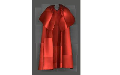 """This digital composite scan of """"Evening Coat, Cristobal Balenciaga for House of Balenciaga"""" 1954-55 is part of the Metropolitan Museum of Art's exhibit """"Heavenly Bodies: Fashion and the Catholic Imagination,"""" which debuts May 10 in New York City. (CNS photo/courtesy Metropolitan Museum of Art, Digital Composite Scan by Katerina Jebb)"""
