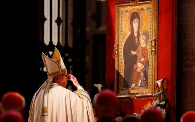 Pope Francis venerates a Marian image outside the Basilica of St. Mary Major in Rome in this May 26, 2016, file photo. The pope has instituted a new Marian feast honoring Mary as mother of the church. It will be celebrated every year on the Monday after Pentecost. (CNS photo by Paul Haring)