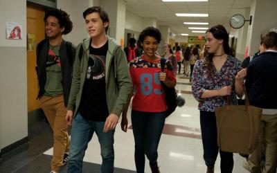 """Jorge Lendeborg, Nick Robinson, Alexandra Shipp and Katherine Langford star in scene from the movie """"Love, Simon."""" The Catholic News Service classification is O -- morally offensive. The Motion Picture Association of America rating is PG-13 -- parents strongly cautioned. Some material may be inappropriate for children under 13. (CNS photo by Twentieth Century Fox)"""