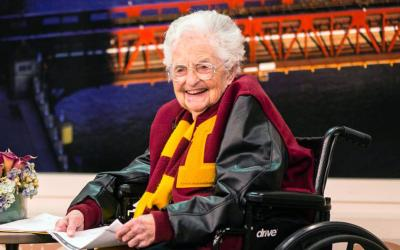 "Sister Jean Dolores Schmidt, 98, longtime chaplain of the Loyola University Chicago men's basketball team and campus icon, smiles during an appearance on ""Windy City Live"" March 12 to discuss her bracket and the team's NCCA tournament run. (CNS photo courtesy Loyola University Chicago)"