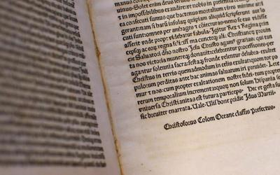 A copy of a Christopher Columbus letter, stolen from the Vatican Library and returned by the United States, is seen displayed at the Vatican June 14. (CNS photo by Tony Gentile, pool)