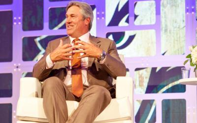 Doug Pederson, head football coach of the Philadelphia Eagles, speaks at an American Bible Society event June 11 in Philadelphia on how important his Christian faith is to him and to players on the Super Bowl-champion team. (CNS photo courtesy American Bible Society)