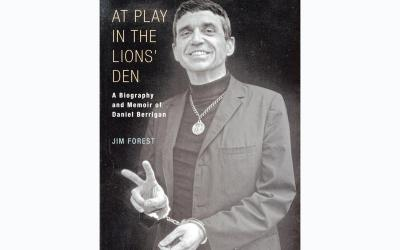 """This is the cover of """"At Play in the Lions' Den: A Biography and Memoir of Daniel Berrigan"""" by Jim Forest. The book is reviewed by Nancy L. Roberts. (Photo by CNS)"""