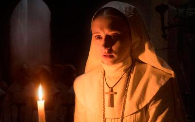 "Taissa Farmiga stars in a scene from the movie ""The Nun.""  (CNS photo by Warner Bros.)"
