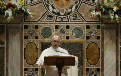 <p> Pope Francis addresses diplomats accredited to the Holy See during an annual meeting at the Vatican Jan. 8. </p>