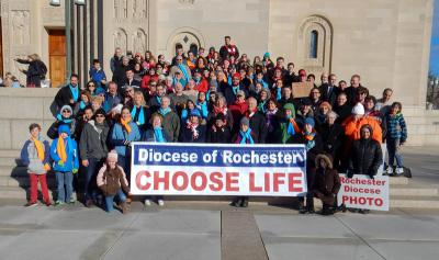 Pro-life pilgrims from the Diocese of Rochester pose outside of the National Shrine of the Immaculate Conception.