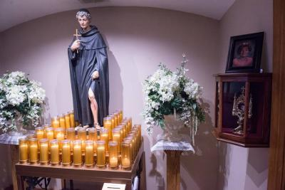 <p>The shrine of St. Peregrine at St. Francis of Assisi Church in Auburn.  </p>