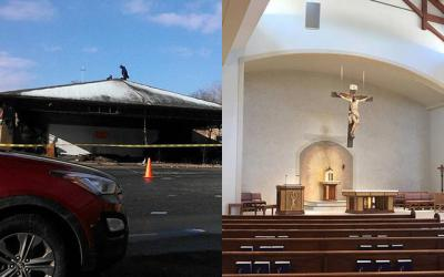<p>At left is a photo of the fire-ravaged St. Pius Tenth Church on Jan. 2, 2015, and at right is a photo of the new church taken just before the dedication Mass on March 19, 2018.  </p>
