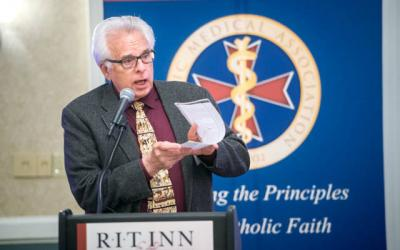 """<p>Wesley Smith gave talks on """"Medical Conscience"""" and """"The Threat of Utilitarian BioEthics and Assisted Suicide"""" during a May 5 Catholic medical conference in Henrietta presented by the Catholic Medical Association's Finger Lakes Guild.  </p>"""