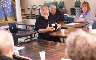 <p>Deacon Claude Lester talks about Stephen Ministry during an informational meeting at St. Mary Church in Canandaigua June 6. (Courier photo by John Haeger) </p>