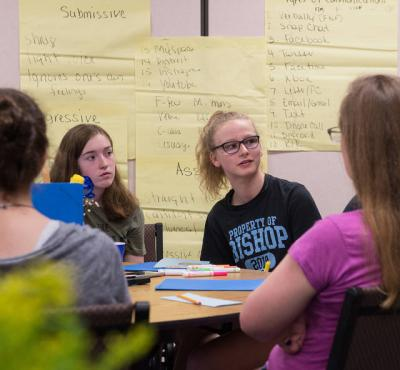 <p>Julia McMahon answers a question about prayer June 28 during a FutureNow teen leadership training program at Holy Cross Church in the Charlotte section of Rochester. (Courier photo by John Haeger)  </p>