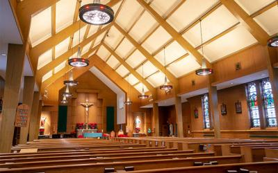 <p>Corning's St. Vincent de Paul Church has been closed since June 30 when a heavy board fell from the ceiling during a Saturday Mass. (Courier photo by Jeff Witherow)  </p>