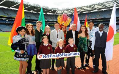 <p>People pose July 19 during the launch of the World Meeting of Families in Dublin's Croke Park. Pope Francis will travel to Ireland Aug. 25-26 for the end of the gathering.  </p>