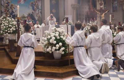 <p>Bishop Salvatore R. Matano celebrates an Aug. 15 Mass for the Solemnity of the Assumption of the Blessed Virgin Mary and also to mark the 150th anniversary of St. Mary Church in Auburn.  </p>