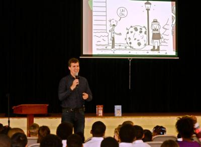 Jeff Kinney, author of the Diary of a Wimpy Kid series, speaks to students at St. Mary's School of Piscataway in Clinton, Md., Nov. 2.