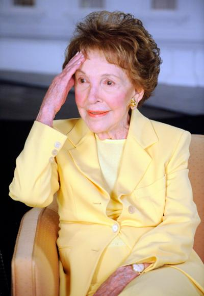 Former first lady Nancy Reagan is seen at the Ronald Reagan Presidential Library in Simi Valley, Calif., in this March 17, 2010, file photo. She died March 6 at age 94.