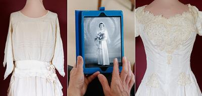 Mildred O'Grady's 1922 wedding dress (from left) and two others worn in 1938 and 1956 are part of a June 5-8 exhibit at St.Catherine of Siena Church in Mendon.