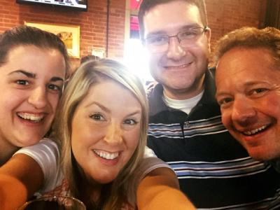New Media Coordinator Gina Capellazzi(left), with friends, Nikki Rudd, Ted Fioraliso and Josh Nichols, on May 21.