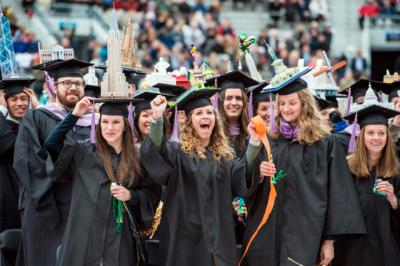 Graduates celebrate at the University of Notre Dame at the conclusion of the May 15 commencement ceremony in Indiana.