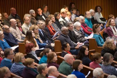 Congregants participate in the interfaith prayer service Feb. 5.