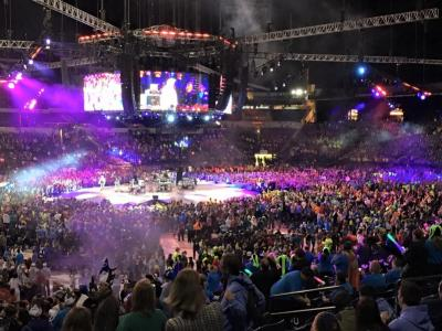 The youth inside Lucas Oil Stadium in Indianapolis for night one of the National Catholic Youth Conference.