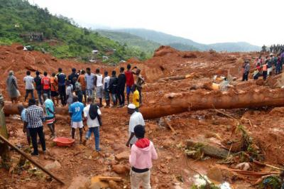 <p>Residents and rescue workers search for survivors after a mudslide in Regent, Sierra Leone Aug. 14.  </p>