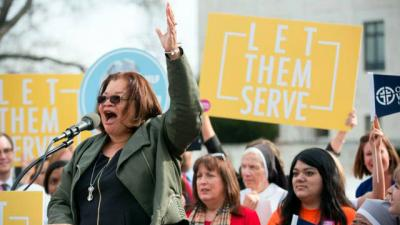 <p>Alveda King, director of Priests for Life's African-American outreach program Civil Rights for the Unborn, and niece of the Rev. Martin Luther King Jr., speaks at a rally protesting the federal contraceptive mandate March 23, 2016 near the steps of the U.S. Supreme Court in Washington. The court heard oral arguments in the Zubik v. Burwell mandate case.  </p>