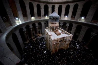 The restored Edicule is seen during a ceremony marking the end of restoration work on the site of Jesus's tomb at the Church of the Holy Sepulcher March 22.