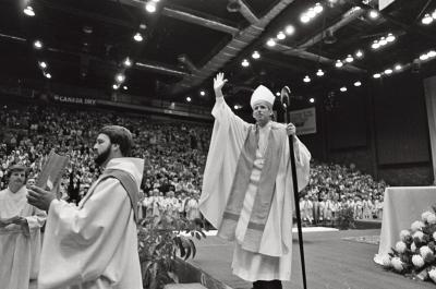 Bishop Emeritus Matthew H. Clark is shown on the day of his installation in 1979.