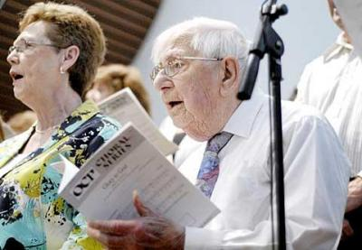 John Manion, 96, has been singing in various parish choirs around Monroe County for 86 years.