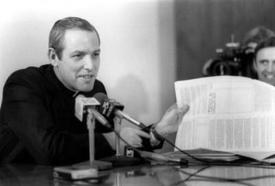 """Bishop Matthew H. Clark itroduces his first pastoral letter, """"The Fire in the Thornbush,"""" during a press conference on April 27, 1982."""