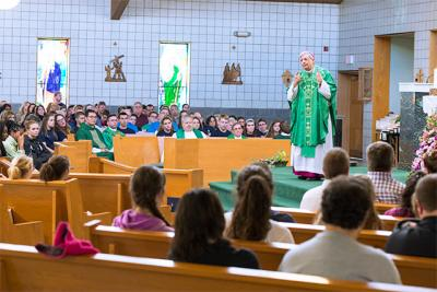 Bishop Salvatore R. Matano delivers the homily during an Oct. 25 Mass for youth going to the National Catholic Youth Conference.
