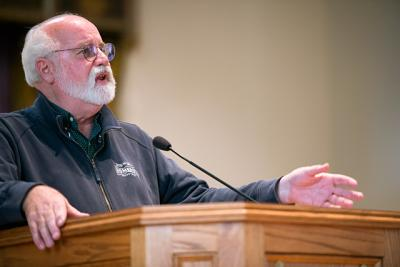 Father Gregory Boyle, SJ, speaks about his work with Homeboy Industries during a lecture at Nazareth College's Linehan Chapel March 3. Father Boyle is executive director of the Los Angeles-based ministry that helps rehabilitate former gang members.