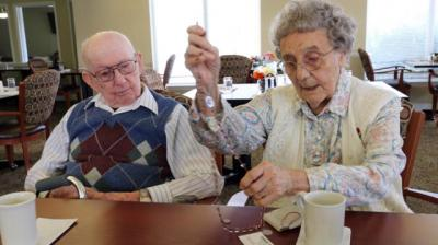 Claude and Yvette Arrington, pictured in a Jan. 23 photo in Portland, Ore., will mark their 75th anniversary in May. They credit faith, teamwork, flexibility, candor and respect for their matrimonial longevity. They have been named Oregon's longest-wed couple by Worldwide Marriage Encounter.