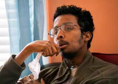 Courier photos by Jeff Witherow  Ali Abdulkadir Ali speaks May 15 in Rochester about the April 17 shooting in Columbus, Ohio, that injured him and claimed the lives of his brother and a friend.