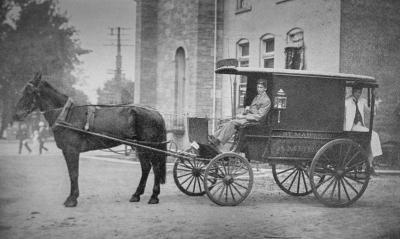A late-1800s photo of one of the first ambulances used by St. Mary's Hospital in Rochester.